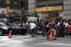 English: Film crew prepares to shoot a scene f...