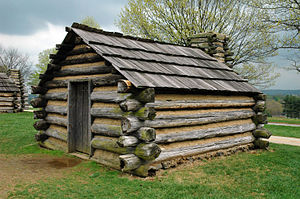 A replica of a cabin in which soldiers would h...