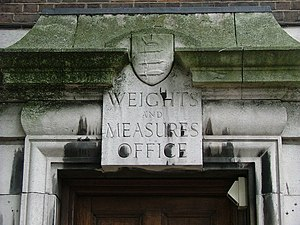 Sign of the former Weights and Measures office...