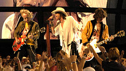 Aerosmith performing at the NFL Kickoff in Washington, DC on September 4, 2003
