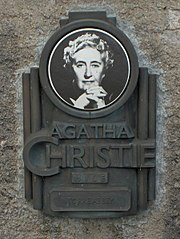 A plaque from the Agatha Christie Mile at Torre Abbey in Torquay.