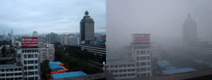 Beijing air on a day after rain (left) and a c...