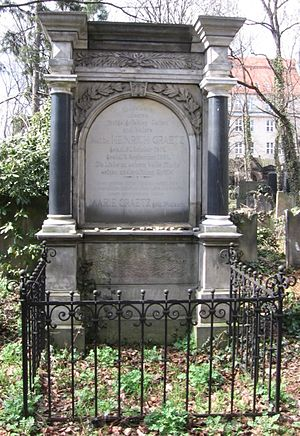 Graetz's tomb in Jewish Cemetery in Wrocław