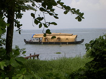 A Kerala House boat shot in Kumarakom,Kerala,India