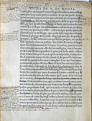 Montaigne Essais Manuscript
