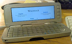 A picture of an opened Nokia 9300 Smartphone