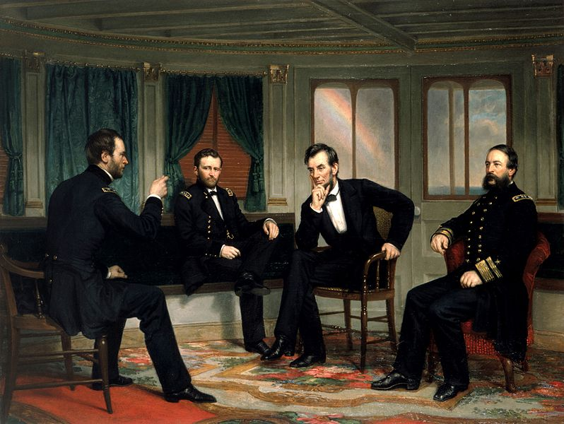 The Peacemakers on the River Queen, March 1865. Sherman, Grant, Lincoln, and Porter pictured discussing plans for the last weeks of the Civil War.
