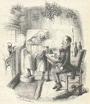 Scrooge and Bob Cratchit illustrated by John L...