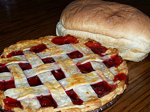 Baking day - bread and cherry pie.