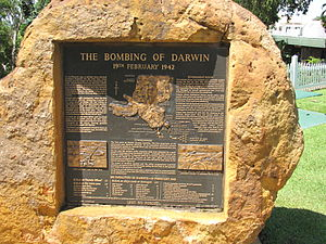 The Bombing of Darwin plaque outside Governmen...