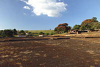 Fazenda t�pica de café, vista do terreiro de secagem do café ao fundo instalações - Avaré.