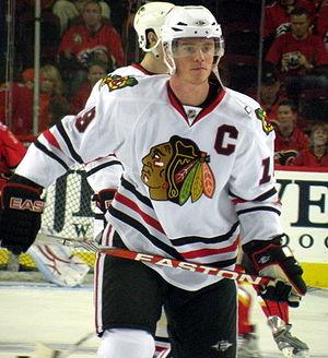 Chicago Blackhawks captain Jonathan Toews duri...