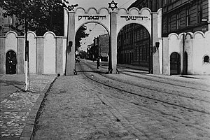 Arched entrance to Kraków Ghetto, about 1941.