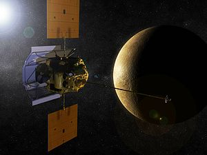 English: Artist's rendering of the MESSENGER s...
