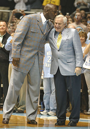 Michael Jordan and Dean Smith photo at UNC gam...