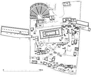 Français : plan restitué du sanctuaire d'Apoll...
