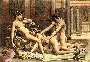 Painting by Édouard-Henri Avril: three women a...