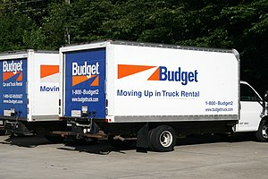 Two Budget rental trucks parked in Durham, Nor...