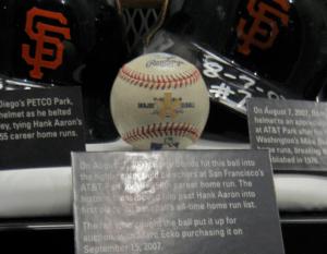 English: Barry Bonds' 756th home run ball in t...