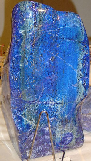 Lapis lazuli owes its blue color to a sulfur r...