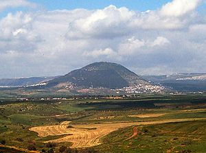 Looking across the Jezreel Valley to Mount Tabor