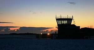 English: RAF Barkston Heath ATC Tower at dawn ...