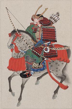 English: Samurai on horseback, wearing armor a...