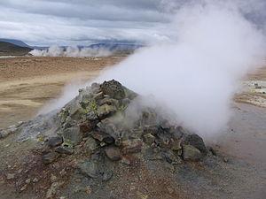 Solfatara near the volcano Krafla in Iceland