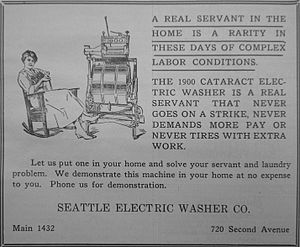 "1920 electric washer ad; says, in part: ""..."