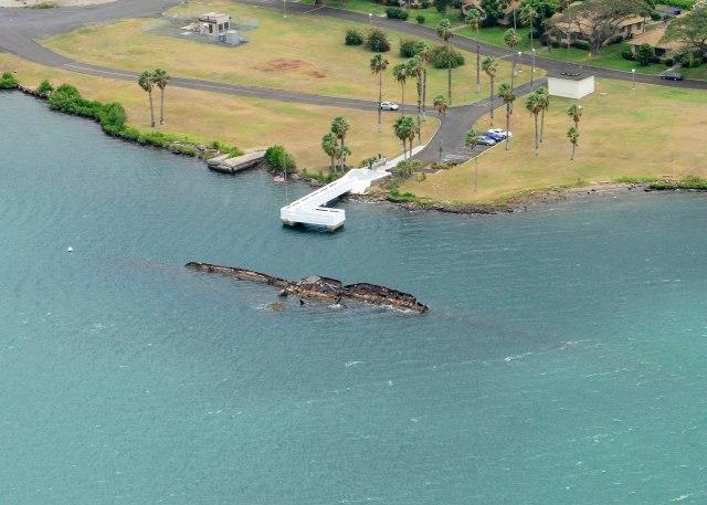 Aerial image of the USS Utah Memorial via Wikipedia.