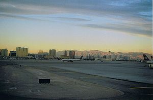 English: Heart of Las Vegas from the taxiway o...