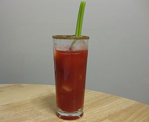 English: A Caesar cocktail made with Mott's Sp...