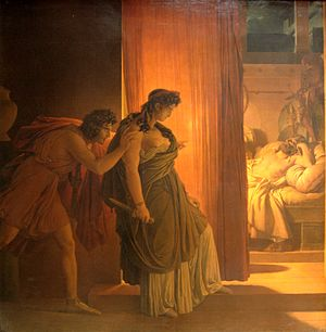 Clytemnestra hesitates before killing the slee...