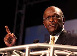 English: Herman Cain at the Ames Straw Poll in...