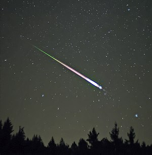 A meteor during the peak of the 2009 Leonid Me...