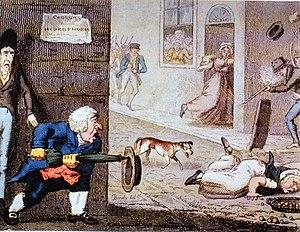 English: 19th century cartoon of a rabid dog i...