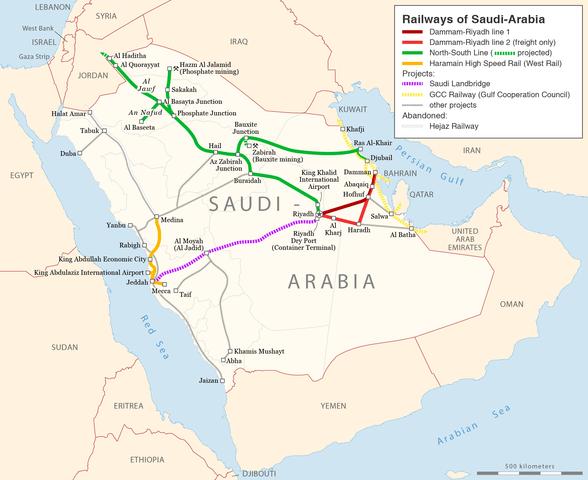 Map of Saudi Arabia and surrounding area with railways included. Notice Kuwait, Qatar and UAE - all OPEC members. (via Wikipedia)