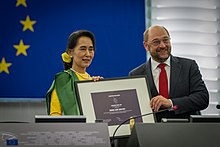 The ceremony of the Sakharov Prize awarded to Suu Kyi by Martin Schulz, inside the European Parliament's Strasbourg hemicycle, in 2013