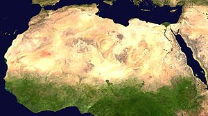 Sahara desert from space. Русский: Пустыня Сах...