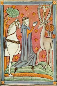 St. Eustace speaking to the Crucifix in the stag's antlers.