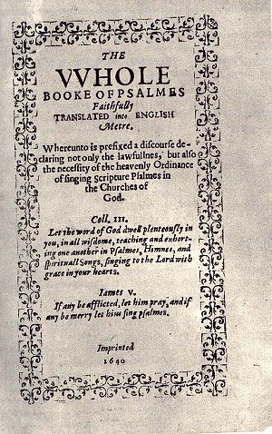 Title page of the irst edition of the Bay Psal...