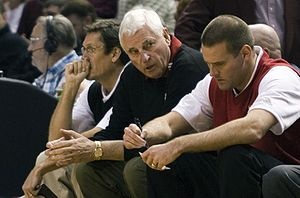 Bobby Knight (en), coach of the Texas Tech Red...