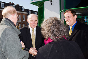 Vince Cable and Martin Tod talk with local res...