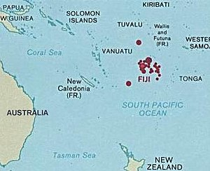 Map of Fiji showing the location in Oceania Ca...