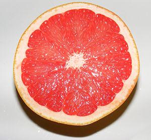 A grapefruit cut in half.