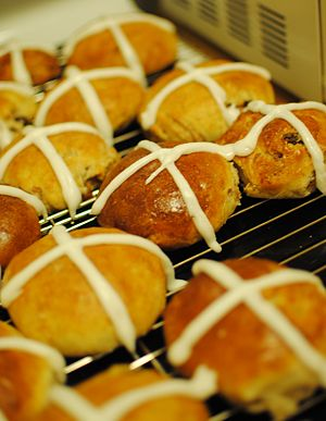 English: Homemade Hot Cross Buns