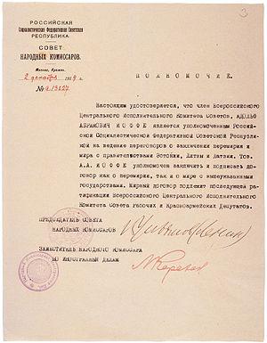 Power of attorney for Abram Ioffe by Vladimir ...
