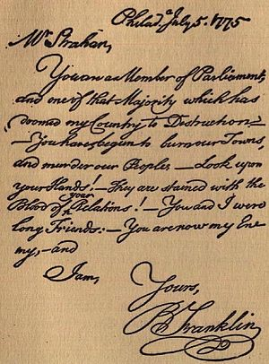 English: Letter by Benjamin Franklin reproduce...