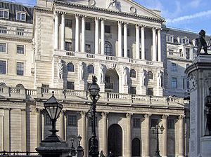 The Bank of England in Threadneedle Street, Lo...