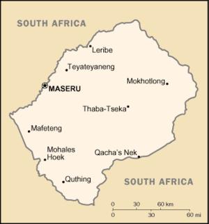 Map of Lesotho showing Maseru.